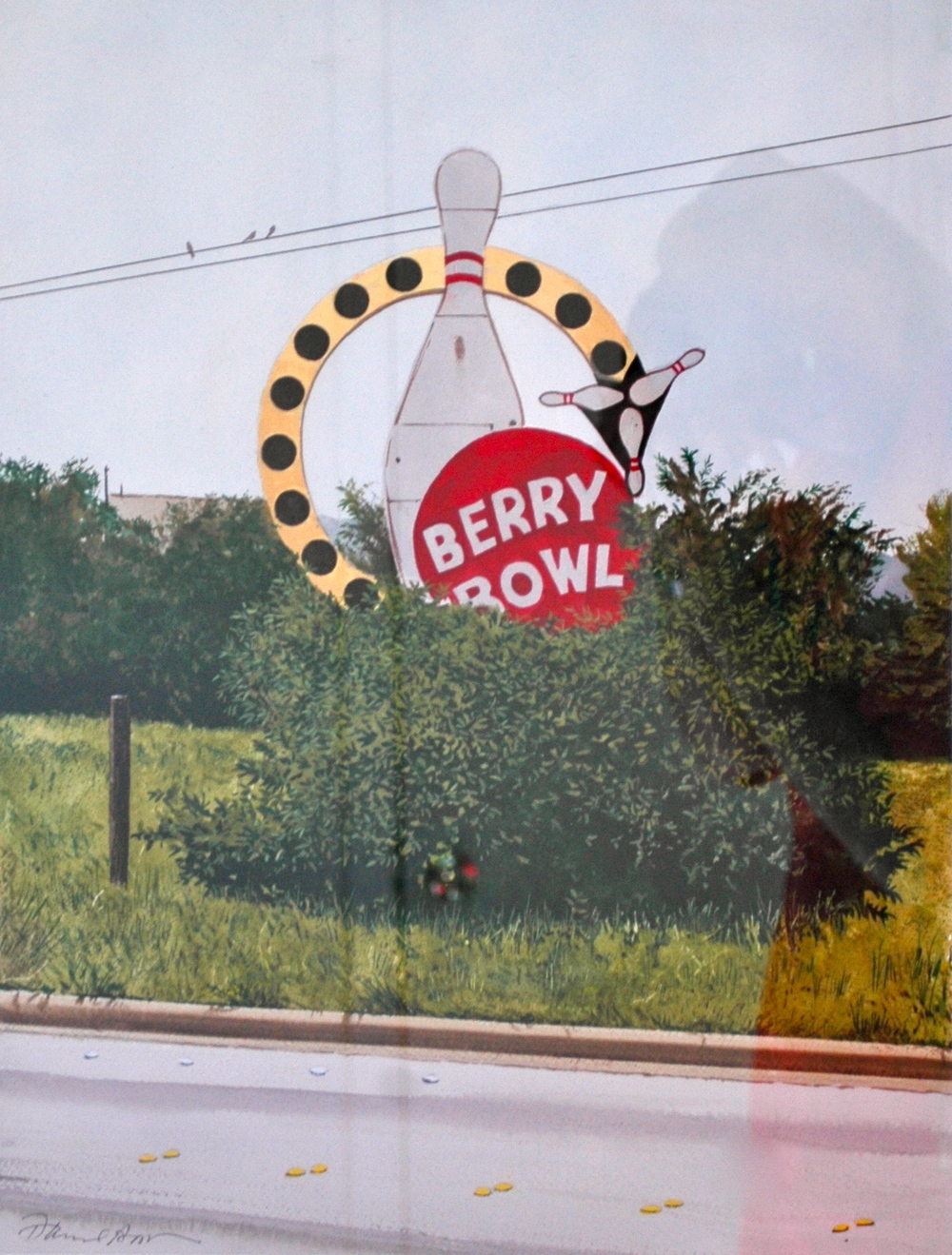 "Daniel Blagg, Berry Bowl, 2011, watercolor on paper, 35 x 27 1/2"". Private Collection, Fort Worth, TX."