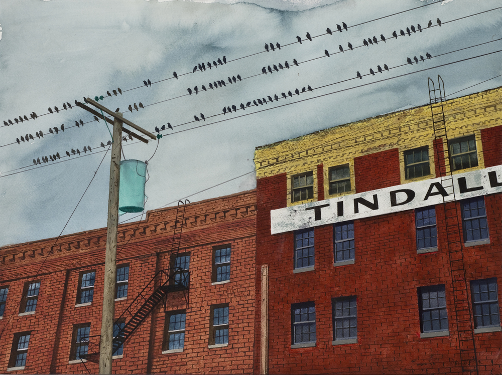 "Daniel Blagg, Tindall, 2011, watercolor on paper, 24 1/2 x 30"". Private Collection."