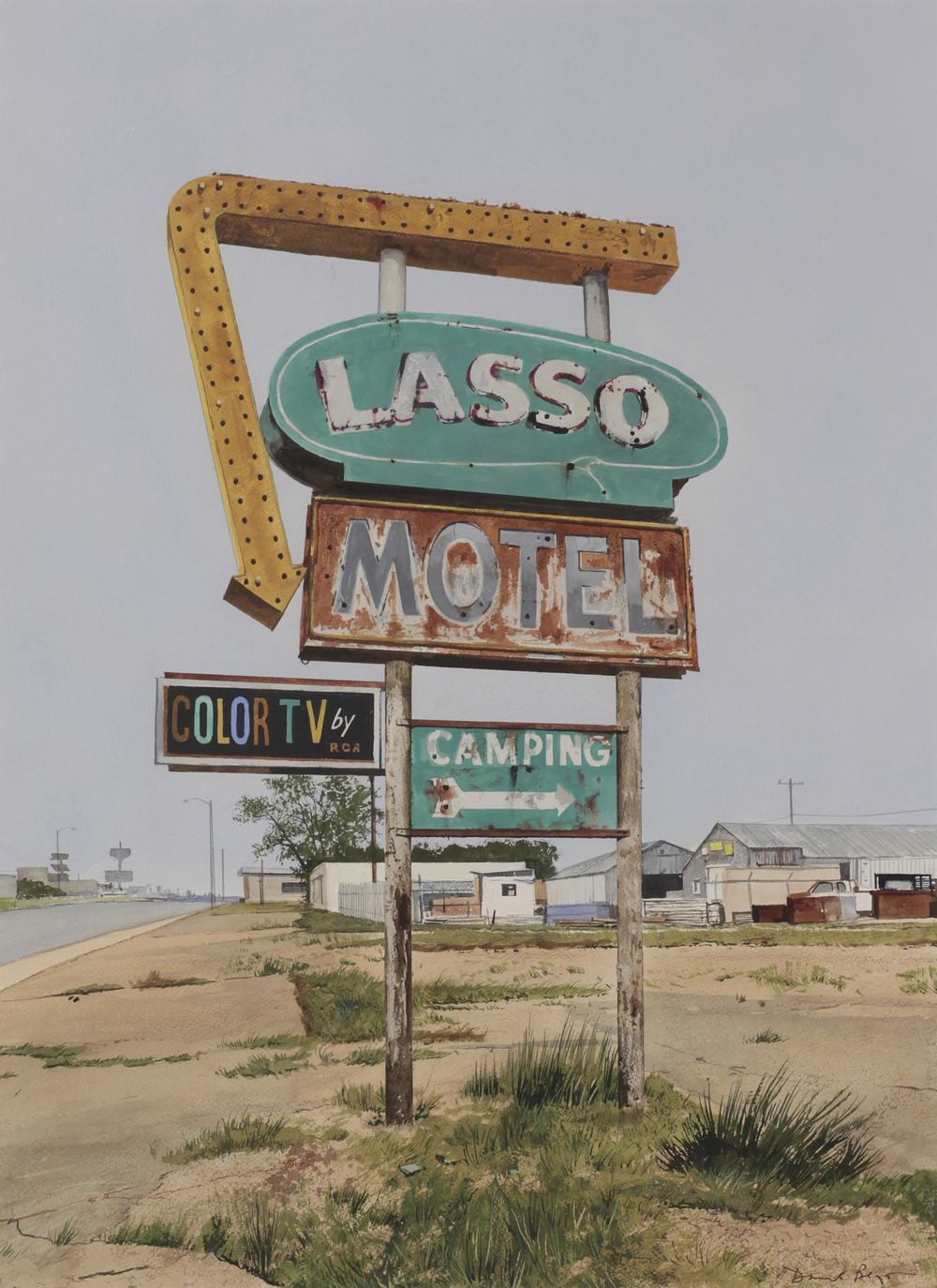 "Daniel Blagg, The Lasso, 2012, watercolor on paper, 37 x 28"". Private Collection, Fort Worth, TX."