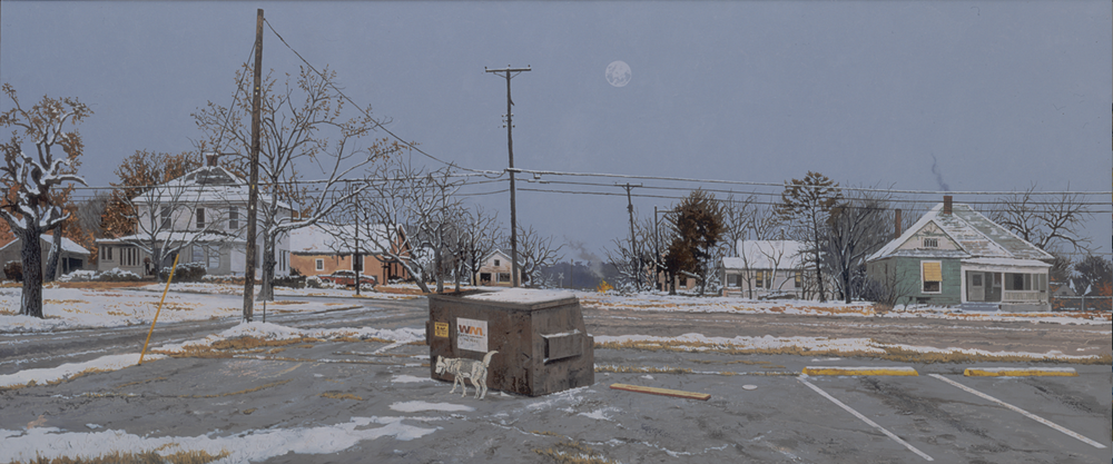 "Daniel Blagg, The Day Moon, 2006, oil on canvas, 36 x 96"". Private Collection, Fort Worth, TX."