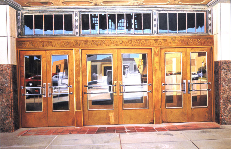 "Daniel Blagg, T & P Doors, 1997, oil on canvas, 62 x 92 x 2 1/2"". Private Collection, Canada."