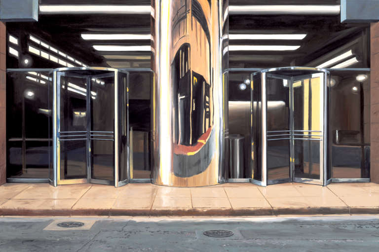 "Daniel Blagg, Revolving Doors, 1999, oil on canvas, 40 x 60"". Private Collection, Fort Worth, TX."