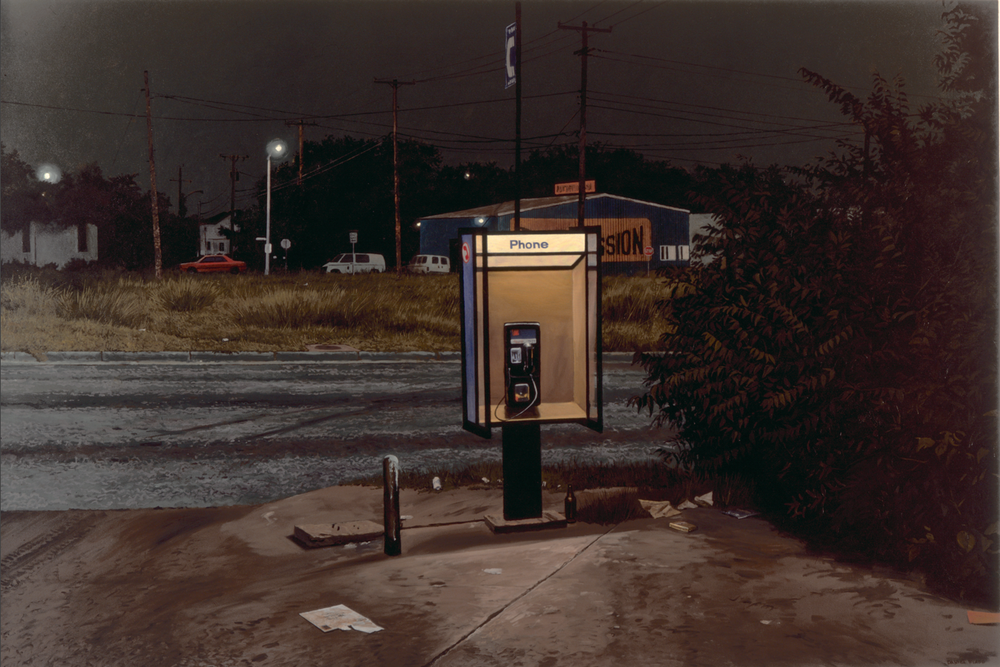 "Daniel Blagg, Pay Phone 1, 1997, oil on canvas, 60 x 90"". In the collection of the Museum of the South East, Corpus Christi, TX."