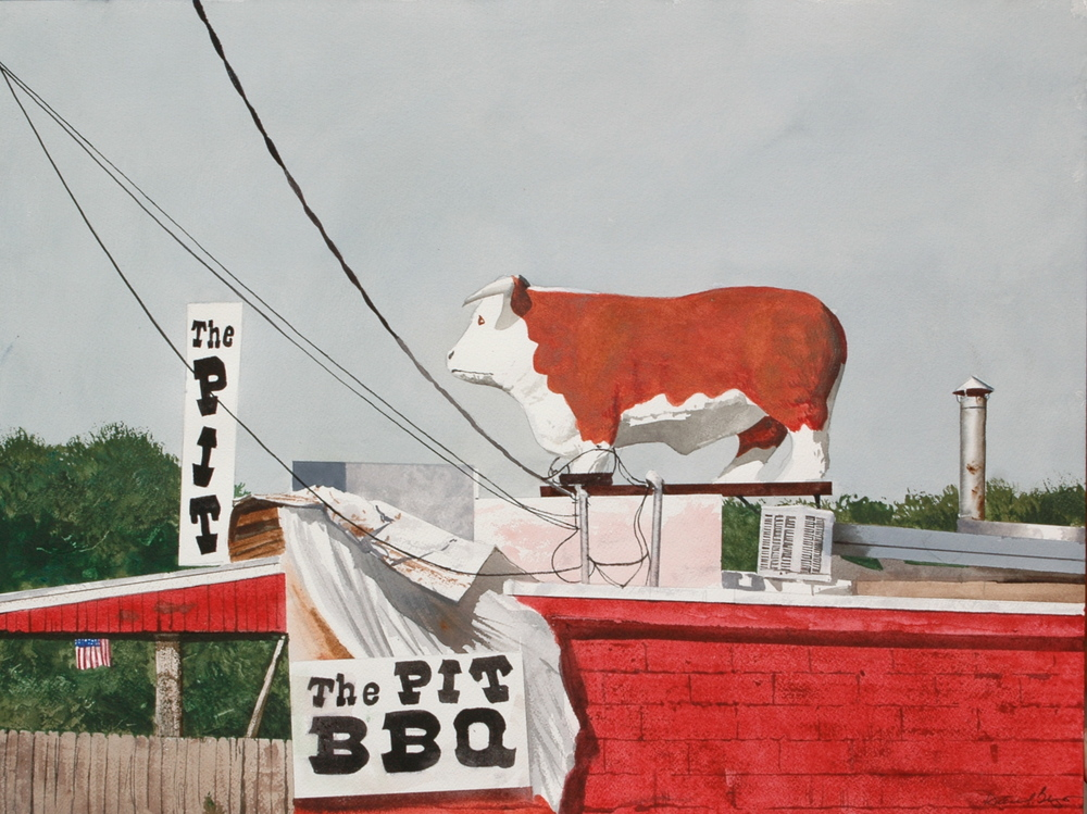 "Daniel Blagg, BBQ Bull, 2011, watercolor on paper, 18 x 25"". Private Collection, Dallas, TX."