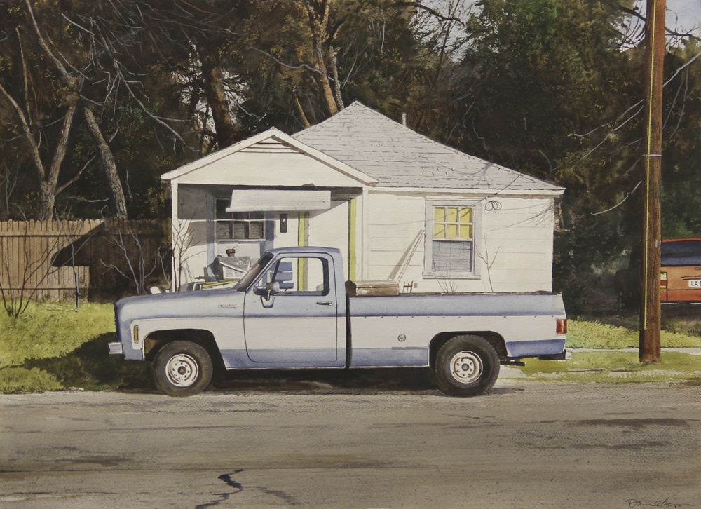 "Daniel Blagg,  House Repair , 2013, watercolor on paper, 27 1/2 x 35"". SOLD."