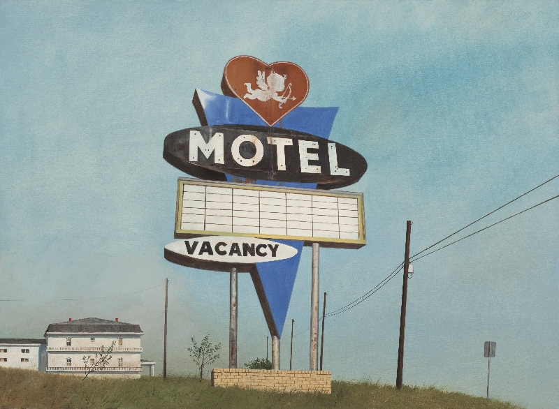 "Daniel Blagg,  Cupid Motel,  2015, oil on canvas 38 x 58"". Contact Artspace111 to purchase."