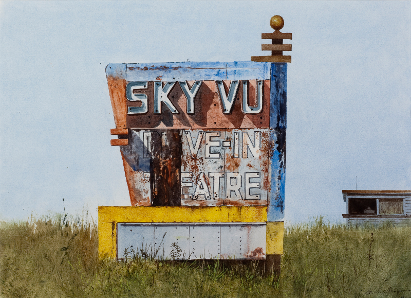 "Daniel Blagg, Sky Vue, 2015, watercolor on paper, 22 x 30"". SOLD"