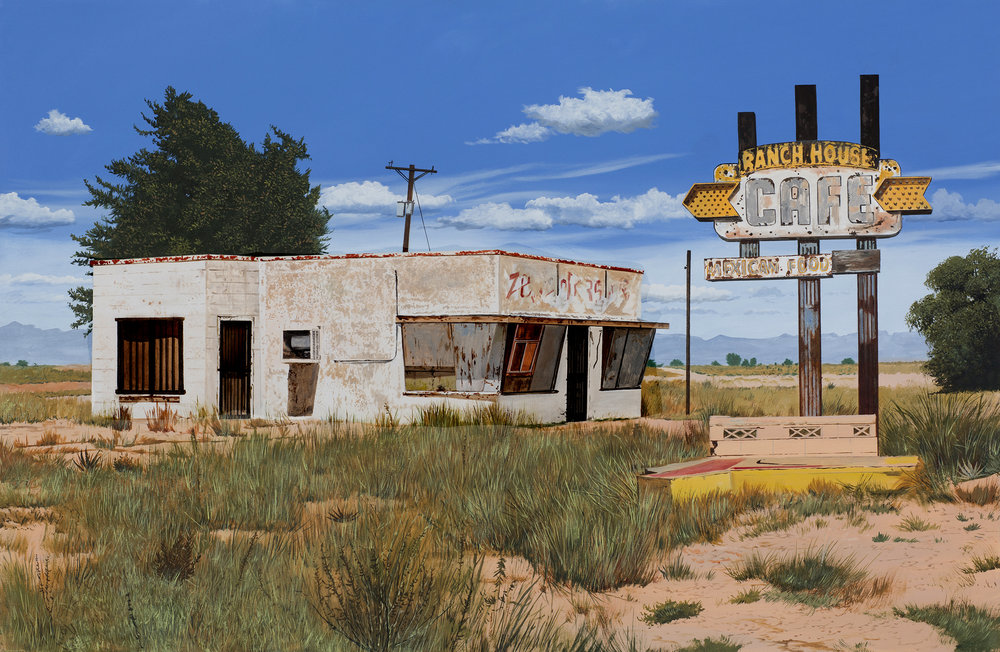 "Daniel Blagg,  Tucumcari , 2016, oil on canvas, 38 x 58"". Contact Artspace111 to purchase."