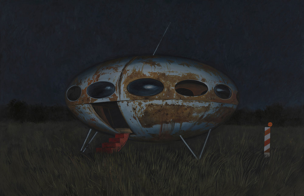 "Daniel Blagg,  Futuro House , 2016, oil on canvas, 38 x 58"". Contact Artspace111 to purchase."