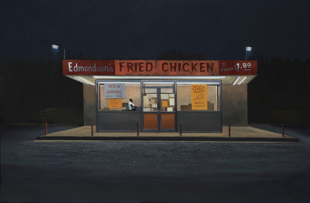 "Daniel Blagg,  Fried Chicken , 2016, oil on canvas, 38 x 58"". Contact Artspace111 to purchase."