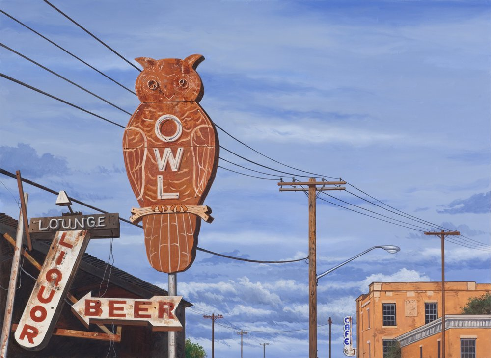 "Daniel Blagg,  Bird on a Wire , 2015, oil on canvas, 38 x 52"". Private Collection."