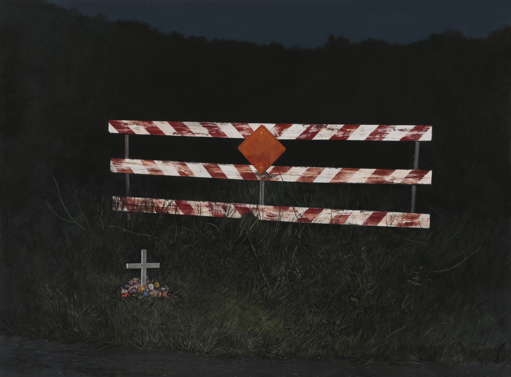 "Daniel Blagg,  Dead End,  2017, oil on canvas, 58 x 88"". Contact Artspace111 to purchase."