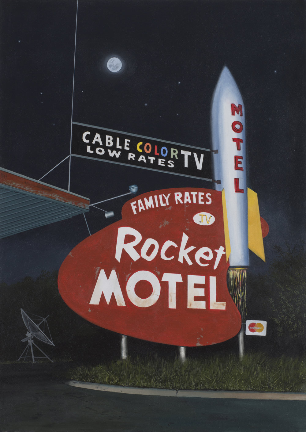 "Daniel Blagg,  Rocket Motel,  2017, oil on canvas, 55 x 38"". Contact Artspace111 to purchase."