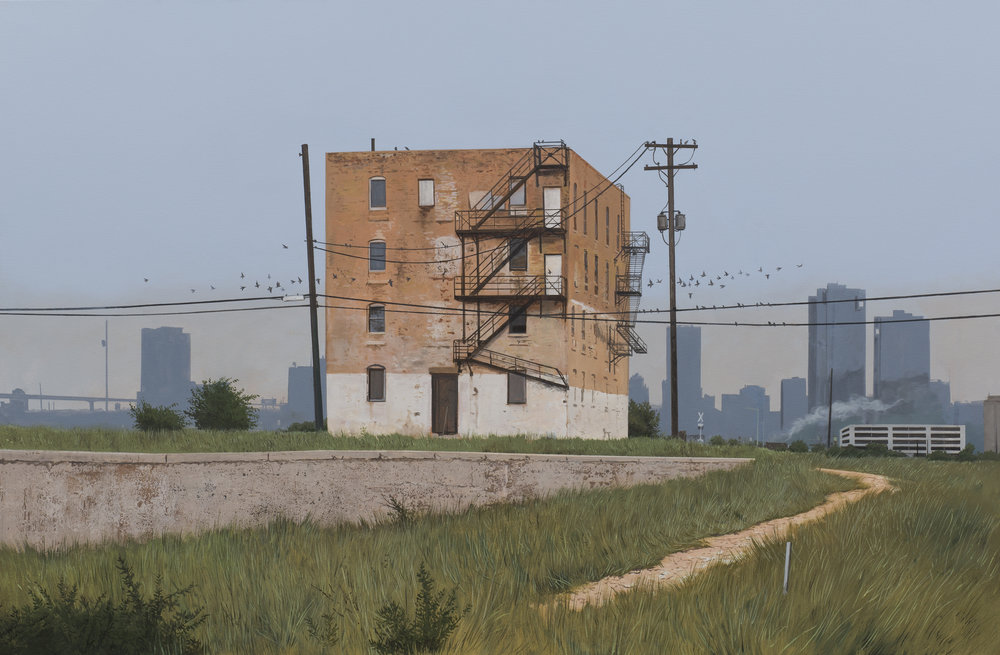 "Daniel Blagg,  The Edge of Town,  2017, oil on canvas, 38 x 58"". Contact Artspace111 to purchase."