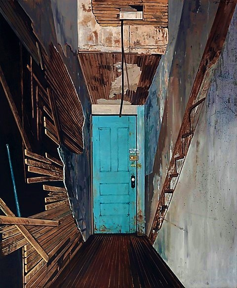 "Daniel Blagg,  The Studio Door,  2008, oil on canvas, 80 x 66"". In the collection of the Modern Art Museum of Fort Worth."