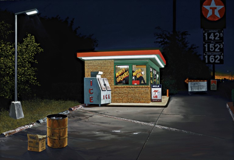 Daniel Blagg,  Filling Station,  2006, oil on canvas, 48 x 72""