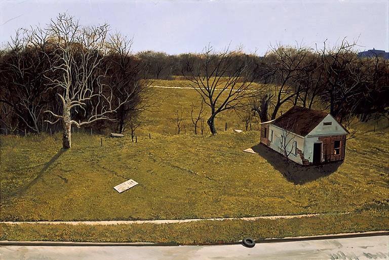 Daniel Blagg,  Crack House,  2002, oil on canvas, 40 x 60""