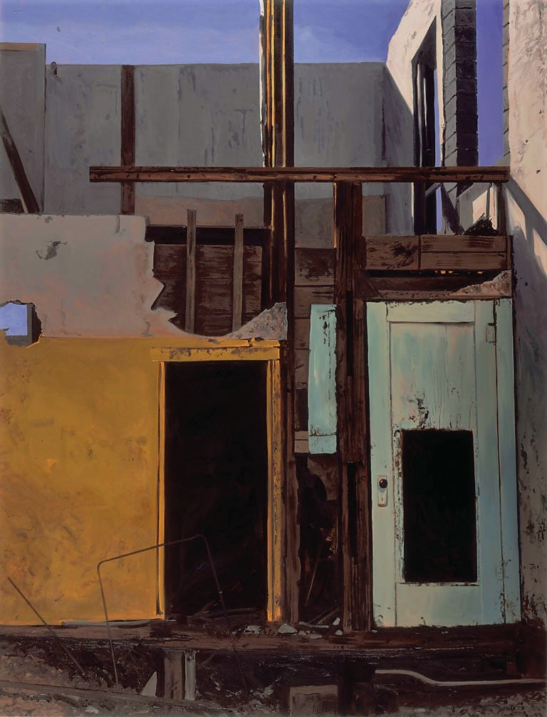 Daniel Blagg,  Demolition Site , 1982, oil on canvas, 84 x 60""