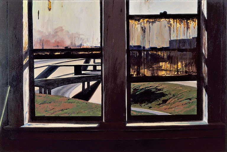 Daniel Blagg,  Windows & Freeways,  1977, oil on canvas, 48 x 72""