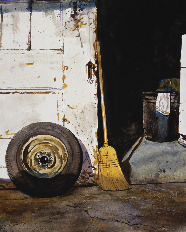 "Daniel Blagg,  Preparatory study for ""Labor Day"" , 1981, watercolor on paper, 24 x 17"""