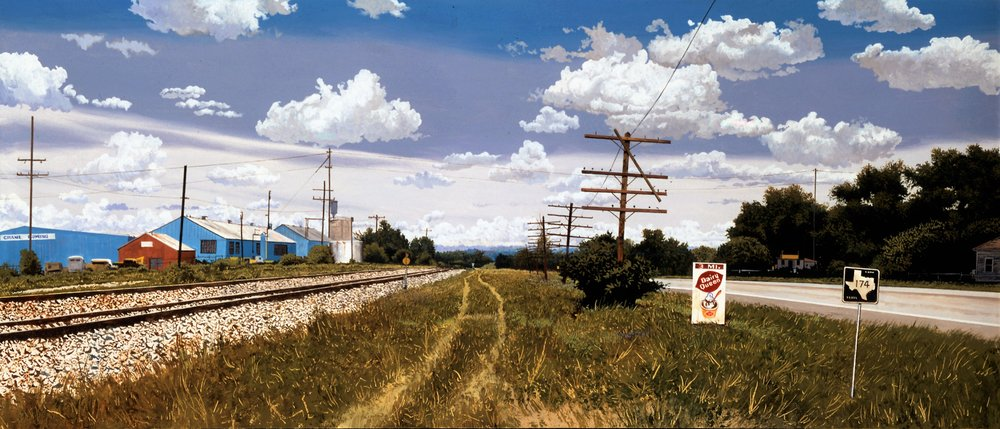 Daniel Blagg,  Texas Road , 2000, oil on canvas, 28 x 60""