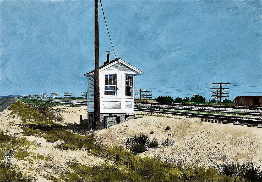 Daniel Blagg,  Rail Road Shack,  2008, watercolor on paper,  17 x 25""