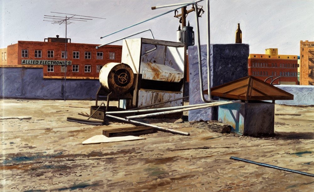 Daniel Blagg,  Roofline , 1990, oil on canvas, 44 x 65""