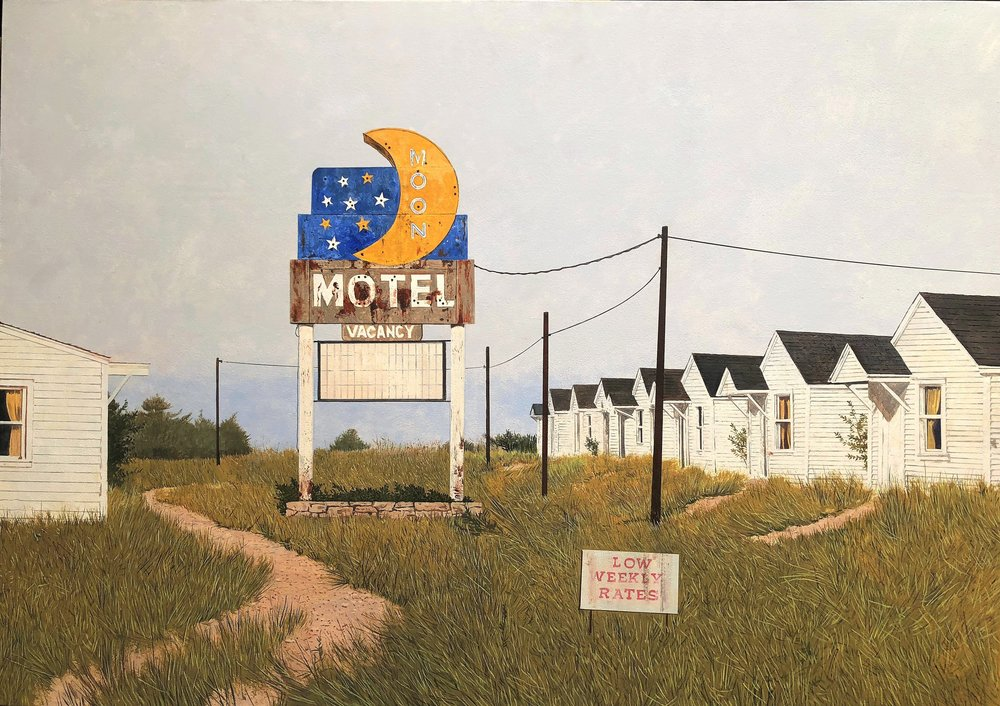Daniel Blagg,  Moon Motel,  2018, oil on canvas, 42 x 54""