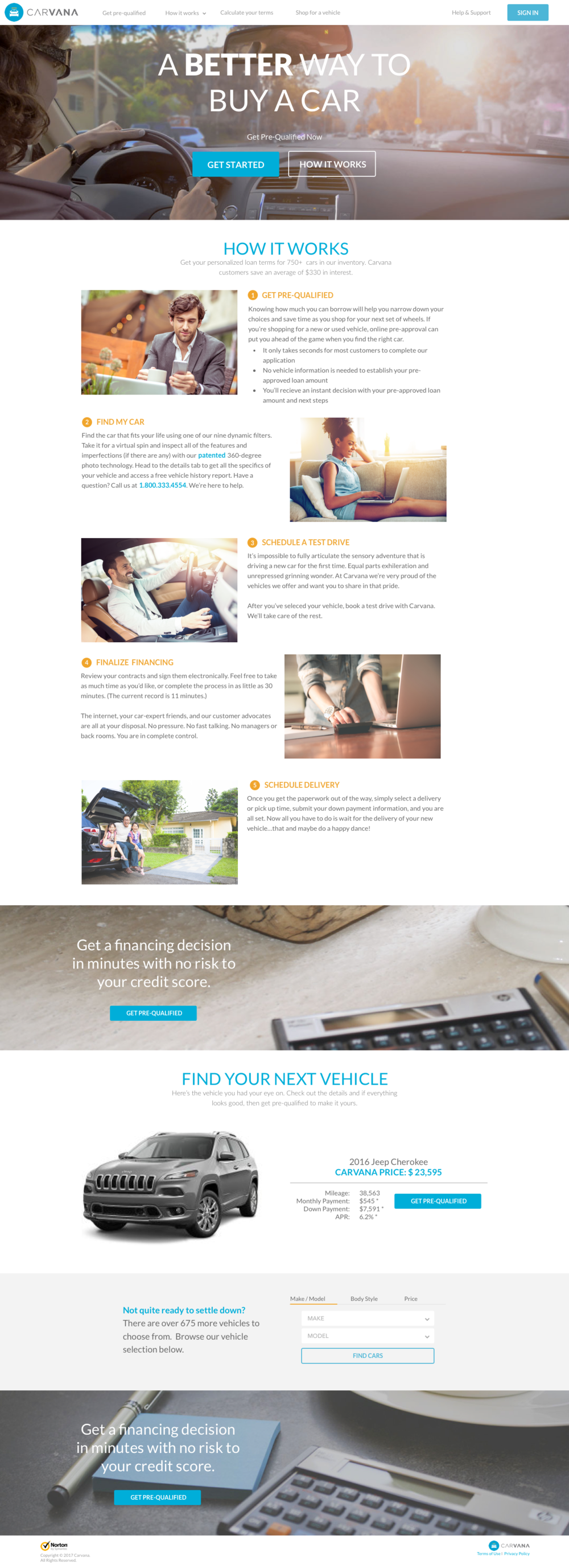 Fully responsive pre-qualification landing page design.