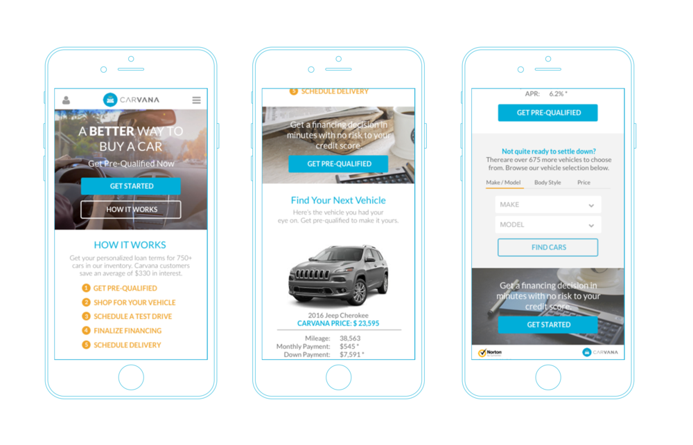 A clean, mobile-first design was considered for this product offering.
