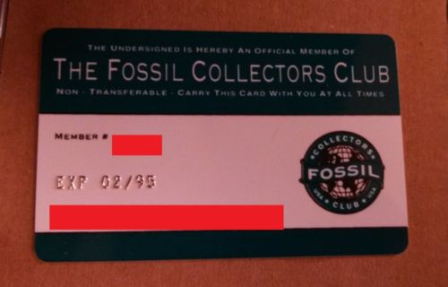 1994 Fossil Collectors Club Card