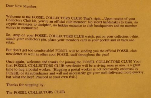 1994 Fossil Collectors Club