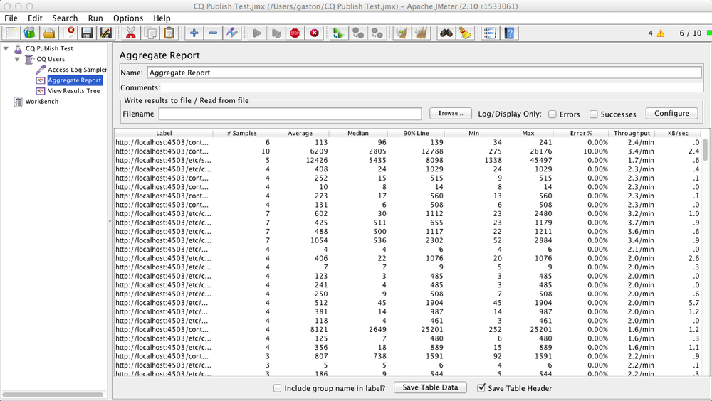 JMeter Aggregate Report View during run.