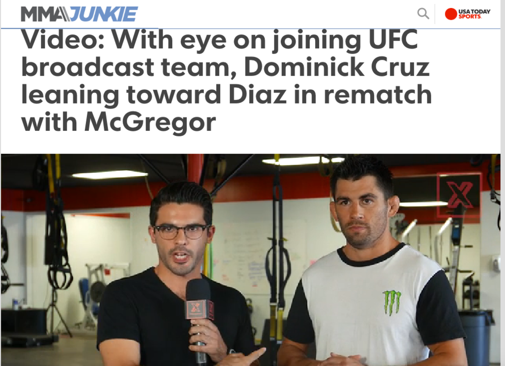 Interview w/ UFC star Dominick Cruz in USA Today