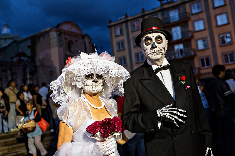 Costumed revelers dressed as Bride & Groom skeletons take part in Day of the Dead festival known in spanish as D�a de Muertos in Oaxaca, Mexico.