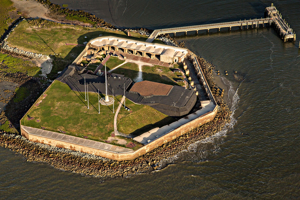 Aerial view of Fort Sumter in Charleston, SC.