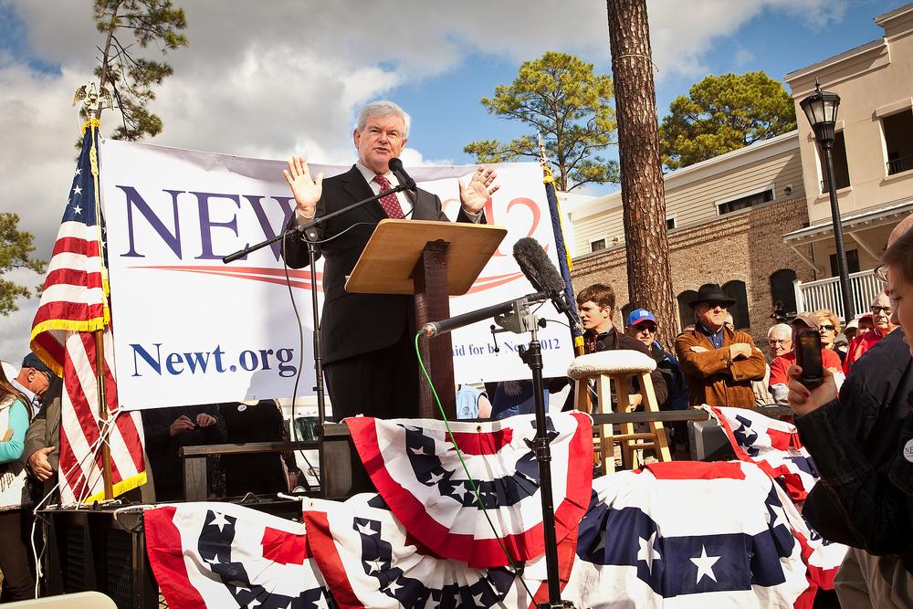 Republican presidential candidate Newt Gingrich speaks at a townhall meeting in the old town on November 29, 2011 in Bluffton, South Carolina.