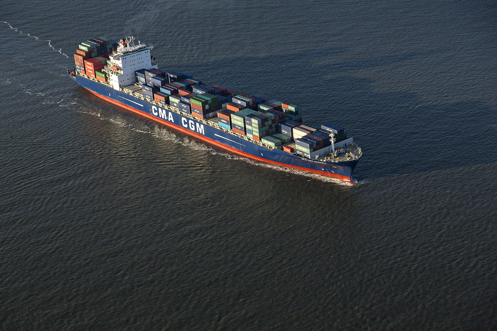 Aerial view of a CMA CGM container ship entering Charleston Harbor, South Carolina