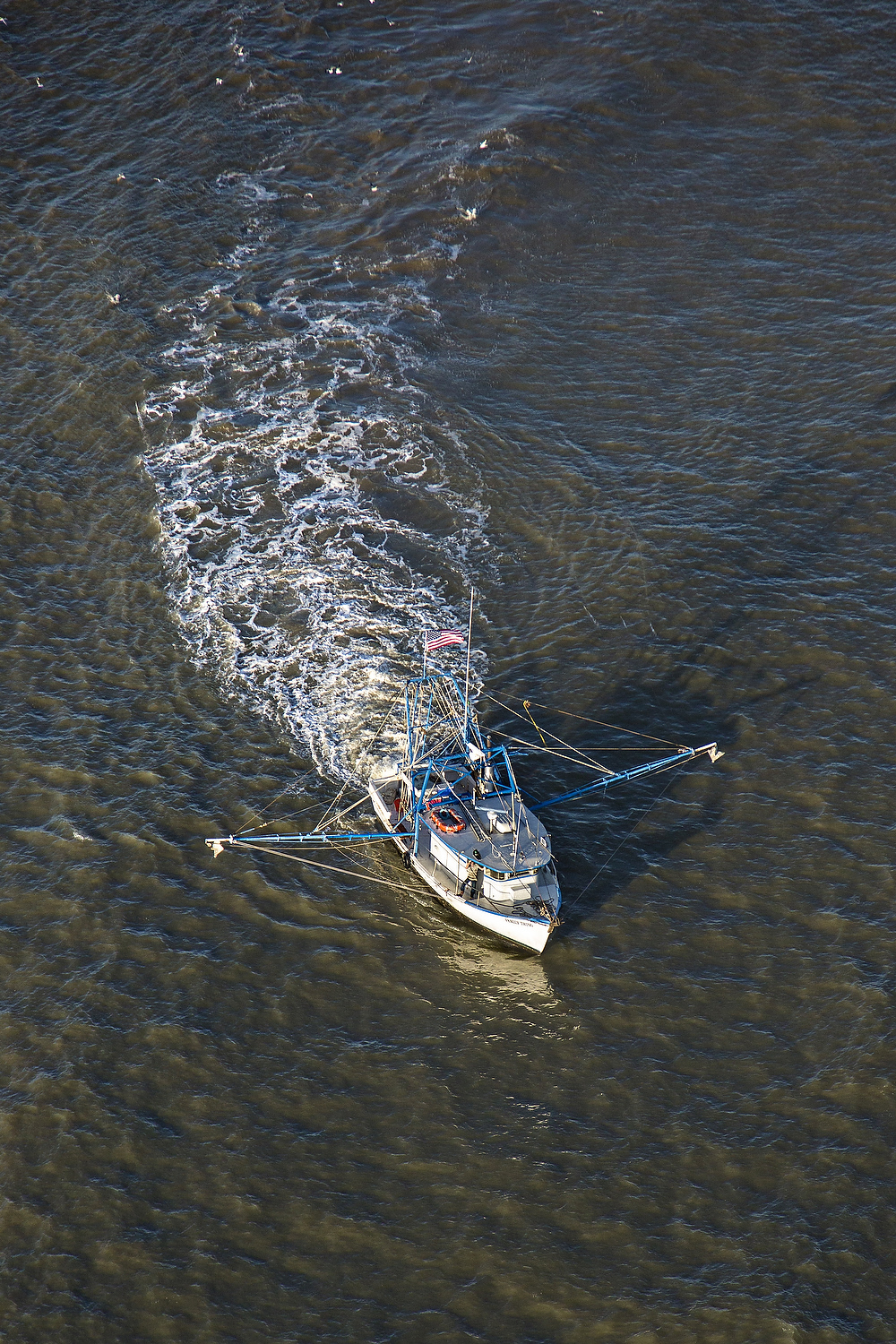 Aerial view of a shrimp boat fishing the waters off Charleston, South Carolina