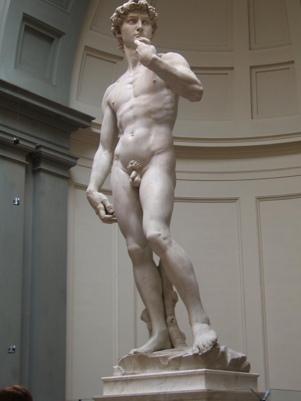 TIPO DE OBRA:Escultura. TÍTULO:ELDavid. LOCALIZACIÓN:Galería de la Academia. Florencia (Italia). Hasta 1947 la escultura estuvo situada en la Plaza de la Señoría de la misma ciudad, donde ahora puede contemplarse una copia. AUTOR:Miguel Ángel Buonarroti (1475-1564). FECHA:1501-1504 ESTILO: Renacimiento italiano. Cinquecento. Escultura.