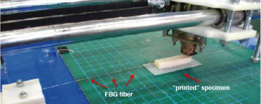 Figura:     Imagen de un espécimen prismático que contiene un sensor FBG embebido, fabricado mediante el uso de una impresora MDF de fuente abierta  RapMan 3.0