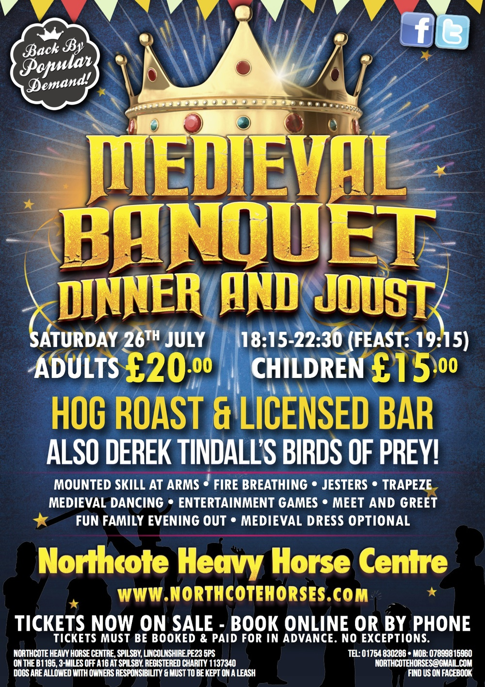 Medieval Banquet Evening at the Northcote Heavy Horse Centre in Lincolnshire