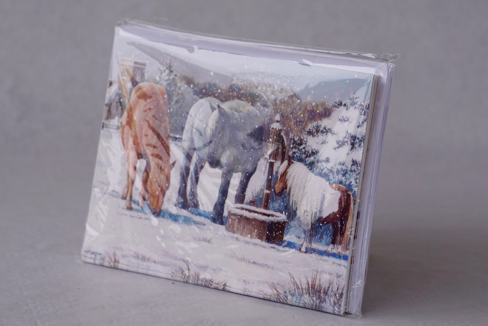 Our very popular Lunchtime Drink Christmas Cards featuring our very own horses!