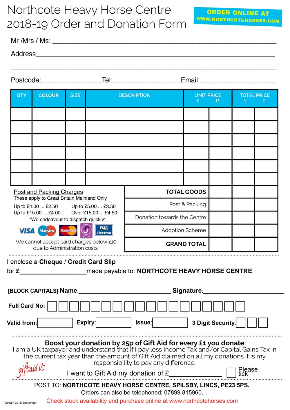Gift selection & Donation Form (Including Gift Aid)