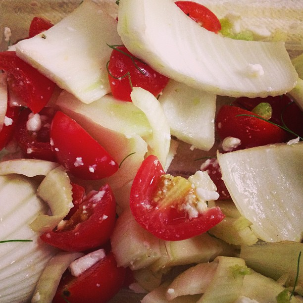 Tomato fennel feta salad #CSA #homemade #whatsforlunch