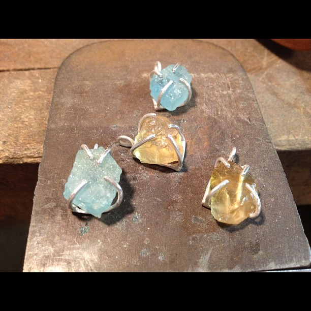 Aquamarine and citrine pendants are on their way to Alder & Co in #portland today