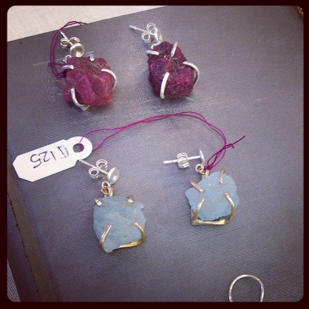 Rough cut ruby and aquamarine earrings for sale at @artistsandfleas at #chelseamarket
