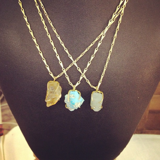 Rough cut turquoise citrine and aquamarine pendants for sale at @artistsandfleas #chelseamarket