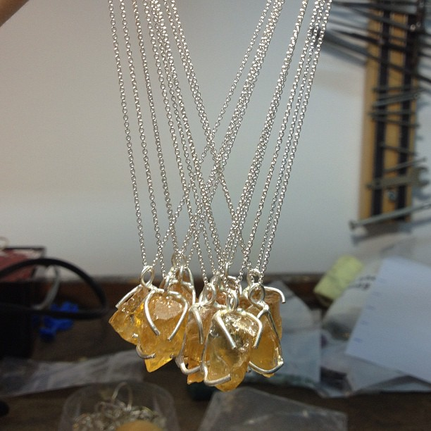 Citrine raw gemstone necklaces on their way out to @uncommongoods today! #handmade #jewelry #MadeinNYC