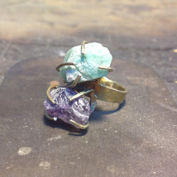 Custom raw #amethyst & #emerald ring on its way to Illinois which represent the client's daughters birthstones, love it!! #jewelry #handmade #madeinamerica (at We Are Here Studio)